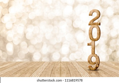 2019 happy year wood number in perspective room with sparkling bokeh wall and wooden plank floor.copy space for display of product or text