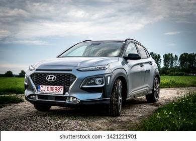 2019 June 1. Satu Mare, Romania. Hyundai Kona car on agricultural land