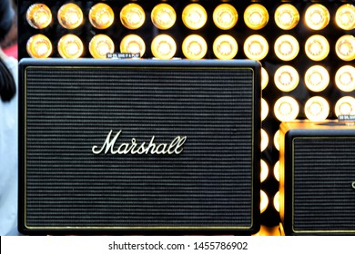 On 19 JULY 2019, Bangkok Thailand. Marshall loudspeaker Amplifier for Sale in a Music Shop in the City Center