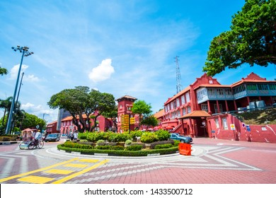 2019 May 8th, Malaysia, Melaka - View of buildings and people at the Dutch square on a beautiful day..