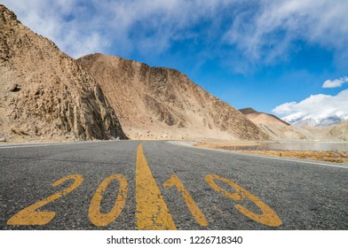 2019 New Year begins road background