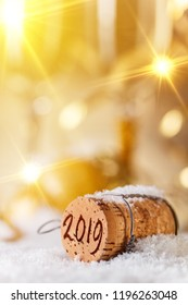 2019 New Year concept with champagne cork