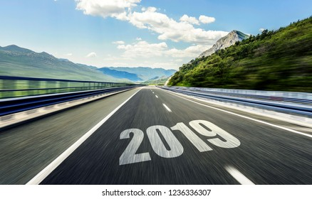 2019 New Year inscription on the asphalt highway. Two thousand nineteen.