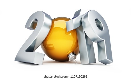 2019 new year on a white background 3D illustration, 3D rendering