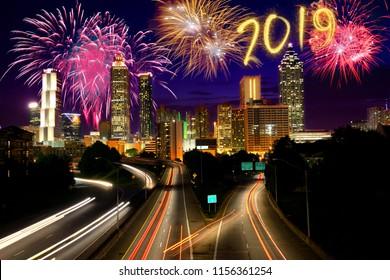 2019 New year's eve in in Atlanta, USA