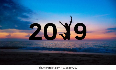 2019 New year.Silhouette people jumping to 2019 new year.Moving to New Year concept.