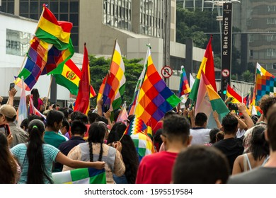 2019, november; Sao Paulo, Brazil. People from Bolivia march in protest against coup d Etat, and in favor of Evo Morales. In Avenida Paulista (Sao Paulo, Brazil)
