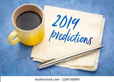 2019 predictions - handwriting on a napkin with a cup of coffee
