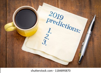 2019 predictions list on a napkin with a cup of coffee