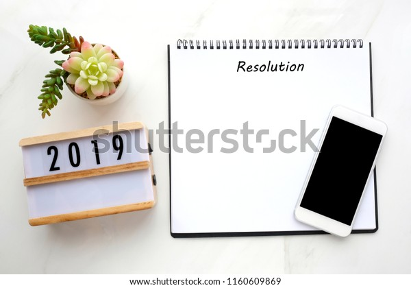 2019 Resolution On Blank Notebook Paper Stock Photo (Edit Now