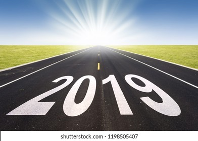 2019 road perspective with rising sun