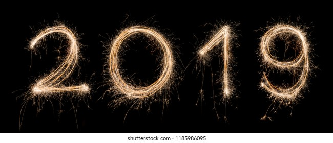 2019 Sparkler Light drawn in numbers for happy new year at night time to celebrate special holiday occasion, Christmas party, diwali, independent day or important event