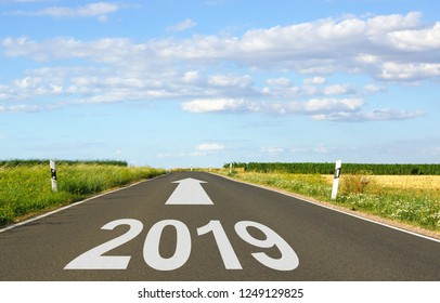 2019 - street with arrow and year - the future