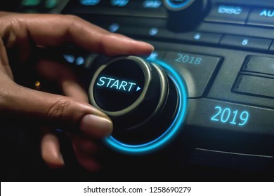 2019, twist button start 2019, concept of new year two thousand nine - image