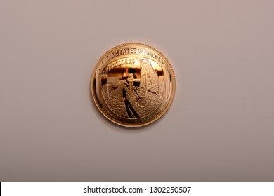 2019 USA  Gold Apollo Proof Coin Obverse to commemorate the 1969 moon landing.