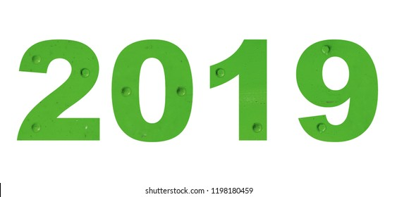 2019 vintage letters, green color metal style