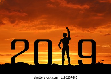 2019 word background Morning sun AI welcome Technology