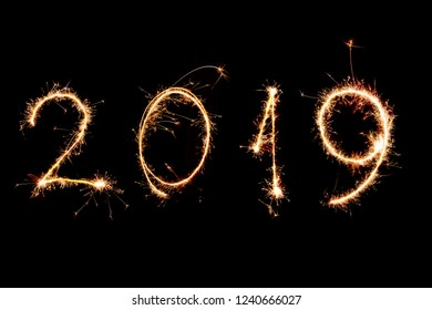 2019 written with Sparkle firework on black background, happy new year 2019 concept.