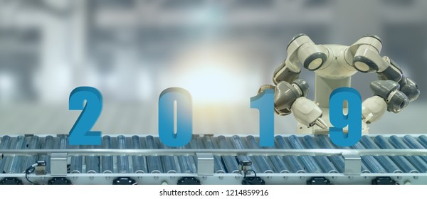 2019 year artificial intelligence or ai futuristic concept,  assistant robot try to put number of new year coming 2019 on operation line, industry 4.0 trend of automation robot in 2019 future