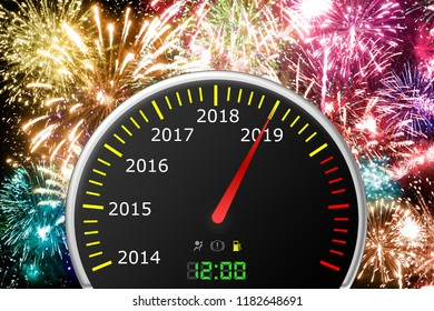 2019 year car speedometer, 2019 New Year concept