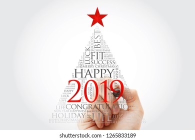 2019 year greeting word cloud with marker, Happy New Year celebration word cloud card in the shape of a christmas tree