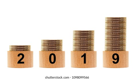 2019 year with growing statistics of money isolated on white background