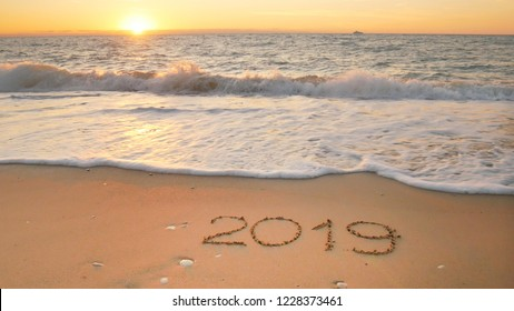 2019 year on the sea shore. Element of design.