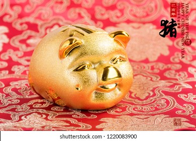 2019 is year of the pig,Golden piggy bank with red background,Chinese new year concept,calligraphy translation: pig.Red stamps translation: Chinese calendar for the year of pig