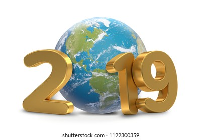 2019 year world planet earth 3d-illustration