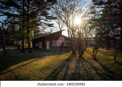2019.04.15 sunlight shines through trees and house in The Prince Villa Karuizawa resort at Karuizawa, Japan