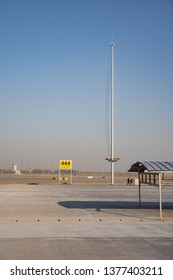 2019.04.22 Beijing, China  Beijing Daxing international airport construction site. The sign on the runway, lights was installed on the light pole.