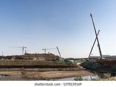 2019.04.22 Beijing, China  Beijing Daxing international airport construction site in the remote