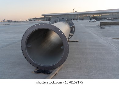 2019.04.22 Beijing, China  Beijing Daxing international airport construction site . Parts of the light pole on the ground