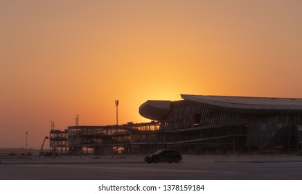 2019.04.22 Beijing, China  Beijing Daxing international airport construction site . 6pm sunset, shines golden color on the terminal