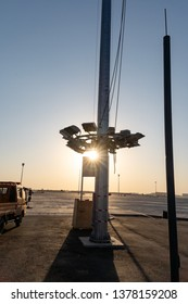 2019.04.22 Beijing, China  Beijing Daxing international airport construction site in the remote.  The light pole is been installed