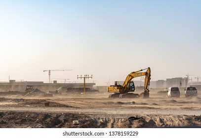2019.04.22 Beijing, China  Beijing Daxing international airport construction site in the remote.  Dusty ground