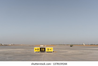 2019.04.22 Beijing, China  Beijing Daxing international airport construction site. The sign on the runway