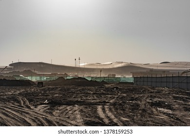 2019.04.22 Beijing, China  Beijing Daxing international airport construction site in the remote, looks like an alien spaceship, or a monster hibernating.