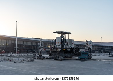 2019.04.22 Beijing, China  Beijing Daxing international airport construction site a construction machine parked on the runway