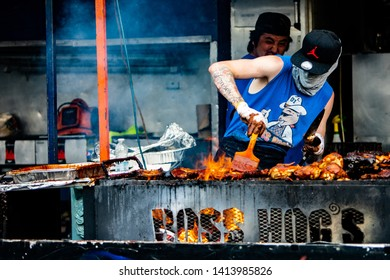 2019-06-01 Windsor, Ontario Canada Ribfest Food Festival Ribs Chicken Pulled Pork Barbecue Grill Cooking Boss Hog's