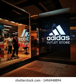 2019/09/05 - Modlniczka /Poland: Adidas logo on the shop entrance in Kraków Futura Park shopping center