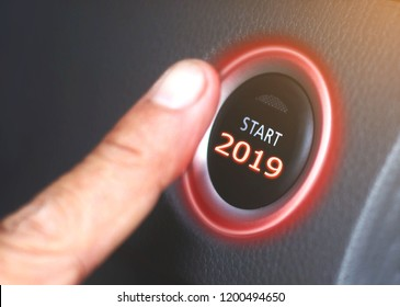 2019,Press the start button 2019 Concept of the New Year two thousand nineteen