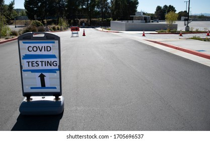 2020 April 15: California USA: Drive-thru Coronavirus COVID-19 first responders testing site at College of the Canyons parking structure in Santa Clarita.