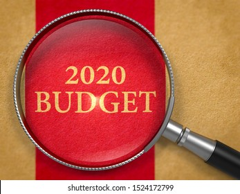2020 Budget through Loupe on Book Title Page with Dark Red Vertical Line Background.