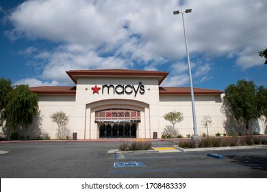 2020 CALIFORNIA USA April 19: Macy's closes stores nationwide due to Coronavirus COVID-19 pandemic, empty parking lot at Westfield Valencia Town Center