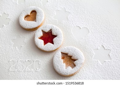 2020 Christmas and new year gingerbread cookies with honey