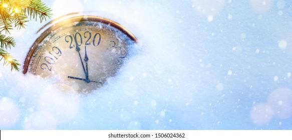 2020 Weihnachten und neue Jahre Einladungsbanner-Hintergrund