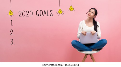 2020 goals with young woman using a laptop computer