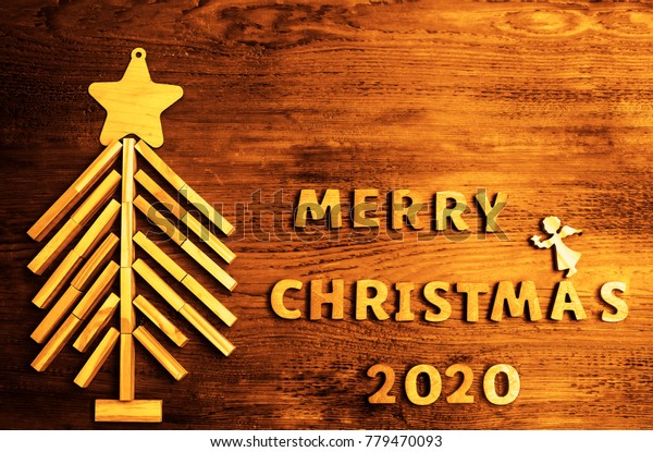 Christmas Time 2020 2020 Happy New Year Driftwood Wooden Stock Photo (Edit Now) 779470093