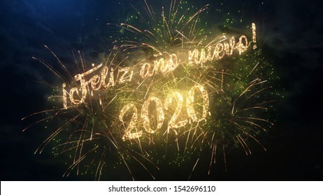 2020 Happy New Year greeting text in Spanish with particles and sparks on black night sky with colored fireworks on background, beautiful typography magic design.